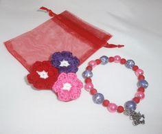 broche flor a crochet mas pulsera a juego