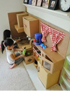 Cardboard boxes for a kitchen