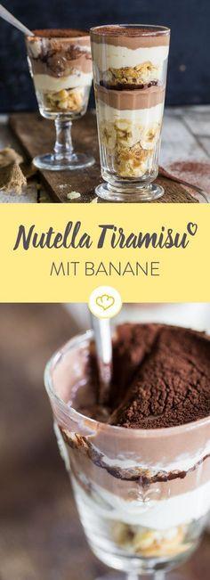 Hmm, was für ein Genuss! Dieses Nutella Tiramisu mit Banane ist so köstlich, da wünscht du dir die Schichten würden nie enden.