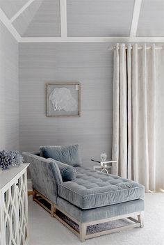 calming coastal bedroom.  grasscloth + velvet + white trim.