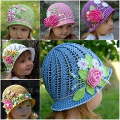 How pretty are these crochet flower hats, and the little princess too! Free Pattern--> http://wonderfuldiy.com/wonderful-diy-pretty-panama-hats-for-girls/