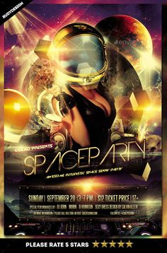 Space Party Flyer Template PSD. Download here: http://graphicriver.net/item/space-party-flyer/15531252?ref=ksioks