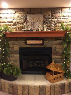 Willow Tree nativity & Kirkland wall art for mantel decor. 1st for Christmas 2015...