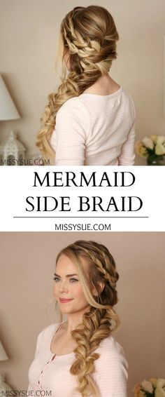 Mermaid Side Braid Mother of the Groom Wedding Hair And Makeup, Bridal Hair, Hair Makeup, Bridal Braids, Pretty Hairstyles, Braided Hairstyles, Wedding Hairstyles, Mermaid Hairstyles, Updo Hairstyle