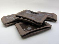 "Soap dishes, ""Bitter-sweet"" series (brown clay, transparent glaze). New Ceramic Design by Studio Saskia Lauth / France - www.saskia-lauth.com"