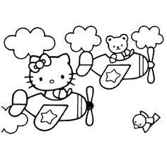 Hello Kitty Vliegtuig kleurplaat