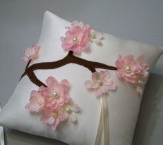 Pink Cherry Blossoms wedding Ring Bearer Pillow