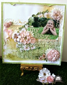 """""""My Abby"""" layout by Bernii Miller for Couture Creations using the Vintage Rose Collection. #couturecreationsaus #decorativedies #scrapbooking"""