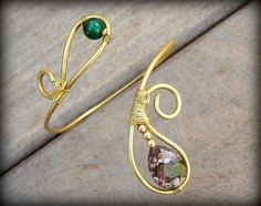Brass Spiral Upper Arm Armlet, Tribal Arm Bracelet with green jasper and jade