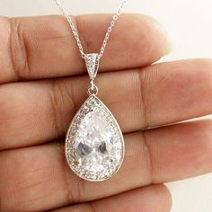 Wedding Necklace Bridal Necklace with Large Clear by poetryjewelry, $38.00