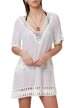 df35b034df Topshop Topshop Crochet Inset Cover-Up Caftan available at #Nordstrom  Ladder Stitch, Women's