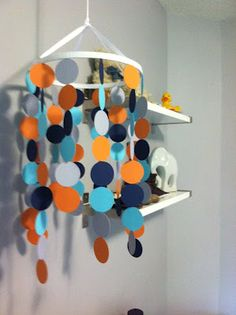 D-and-B: DIY Nursery Mobile Seann! Wonder if we could make this but with orange blue green and white?