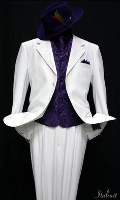SKU#VZ9901 White-Purple 3pc Fashion Zoot Suit $210 Tuxedos / Formalwear Fashion Tuxedos