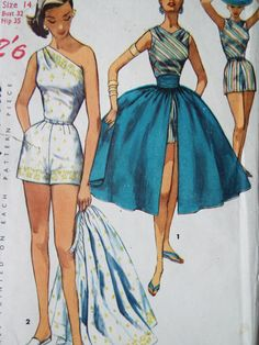 Vintage 1950s Rare Simplicity 1605 One Shoulder by FoxVintageUk