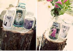 outdoor wedding details using past family wedding photos in mason jars - ruffledblog