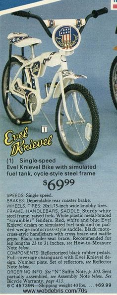 Evel Knievel Bike from 1977. This might be the greatest gift my mother ever bought for me. And yes, that rear coaster brake was dependable.