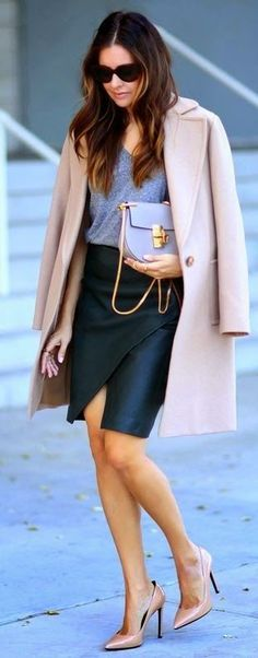 slit leather skirt with blush coat and heels