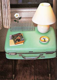 Another suitcase table... very vintage.