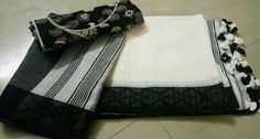 Pure cotton handloom sarees with resham or ailk borders with pompom pallu Running blouse Combo kalamkari blouse cotton Price :2999+$ Order what's app 7995736811 Cotton Blouses, Cotton Saree, Formal Saree, Handloom Saree, Saris, Alexander Mcqueen Scarf, Trends, App, Running