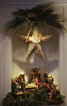 Beautiful Holy Family Manger Scene Deco