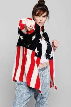 Vintage '90s American Flag Fleece Jacket #urbanoutfitters