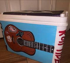 COOLERSbyU Painted Cooler Examples | Guitar Cooler | Tags: guitar, cooler, music Painted Coolers, Fraternity Coolers, Cooler Painting, Painting Inspiration, Guitar, Tags, Music, Musica, Musik