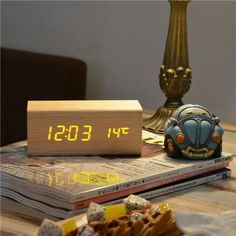 Wood LED Alarm Clock Sounds Control Temperature Calendar LED Display Electronic Desktop Digital Table Clock For Home Decoration