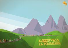The race reaches the summit of the Col de la Croix de Fer with Les Aiguilles D'Arves in the distance. 2012 Tour de France Stage 11