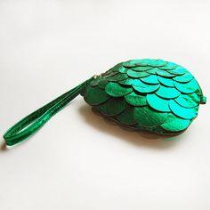 Metallic green leather fish scale purse.