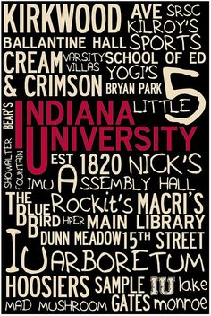 Customize with your OWN college memories - Indiana University IU Custom Landmark Print 36 by ImprintedLiving, $40.00