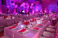 Bat Mitzvah with round ceiling balloons in purple and pink.  By Diana Gould Ltd. Photo by Rebecca Weiss Photography!