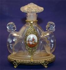 Vintage Czechslovakian Clear Perfume Bottle With Double Nude Figures & Plaque