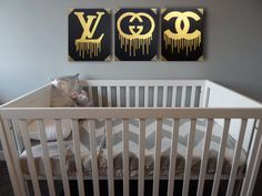 Louis Vuitton, Gucci, Chanel Painting, Drip & Studs (Set of 3,  each 16x20) Gold and Black Art