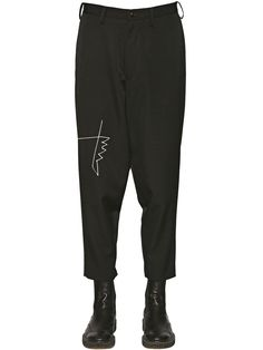 f866bf1105 YOHJI YAMAMOTO EMBROIDERED DETAIL WOOL PANTS BLACK MEN CLOTHING