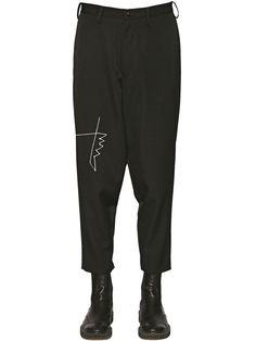 6821be9a8e9c YOHJI YAMAMOTO EMBROIDERED DETAIL WOOL PANTS BLACK MEN CLOTHING