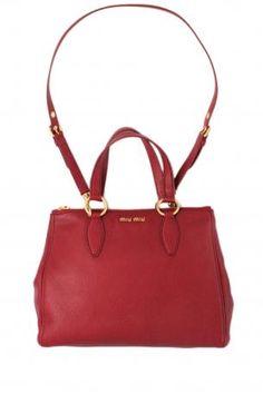 b6287dd9650 miu miu shopping rubino (ruby). Ruby red color hammered leather handbag or  shoulder