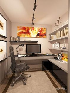 One fiery decor is all it takes to bring home office to life.
