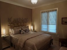 GuestRoom..with a mood!, Nice Warm feeling for short-stay Company, Crystal Lighting, Hunter Douglas Bamboo, dual shade blinds, Feature wall ...