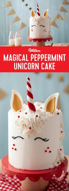 Magical Peppermint Unicorn Cake - Create an enchanted ending to your Christmas celebration with this Magical Peppermint Unicorn Cake! Use a variety of stars, rosettes and dots to pipe this unicorn mane, Holiday Cakes, Christmas Desserts, Christmas Treats, Christmas Baking, Christmas Cupcakes, Christmas Birthday Cake, Unicorn Head Cake, Unicorn Cakes, Mini Cakes
