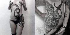 snake and bird with sword tattoos by alexander grim