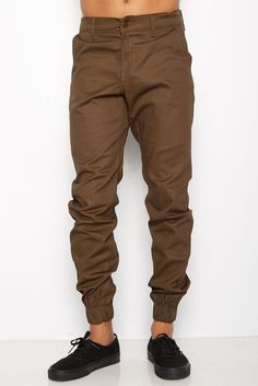 Mens Olive Jogger Heft Brand Signature Khaki Twill Pants