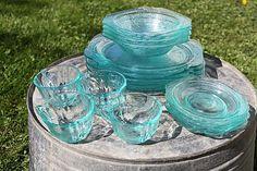 Beautiful 16-Piece Blue Depression Glass Set by thebluebasket