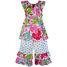 @Overstock - Watch your little girl squeal with delight at this beautiful two-piece outfitTwo-piece AnnLoren children's clothing is truly uniqueGirl's capri set features stylish floral and polka-dotted fabrichttp://www.overstock.com/Clothing-Shoes/AnnLoren-Girls-Sassy-Floral-and-Dots-Capri-Outfit/3808304/product.html?CID=214117 $24.99
