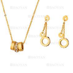 collar y aretes con cristal de dorado en acero-SSNEG263103