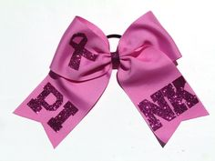 Support Breast Cancer Awareness with this PINK cheer hair bow! Breast Cancer Support, Breast Cancer Awareness, Cheerleading Cheers, Cheer Hair Bows, Pony O, Little Diva, Boutique Hair Bows, How To Make Ribbon, Pixie