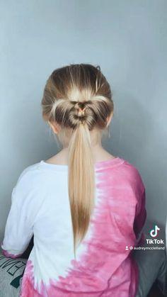 Easy Double Flip Ponytail Little Girl Hairdos, Girls Hairdos, Lil Girl Hairstyles, Easy Hairstyles For Long Hair, Ariel Hair, Hair Tutorials For Medium Hair, Toddler Hair, Hair Videos, Hair Hacks
