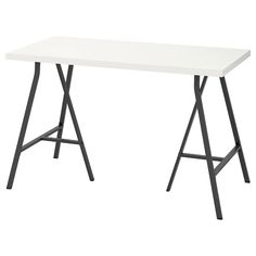 LINNMON / LERBERG white, grey, Table, 120x60 cm. Board-on-is a strong and lightweight material with a in wood, particleboard or fibreboard and a recycled paper filling. It requires less raw materials and is easy to transport, which reduces the environmental impact.