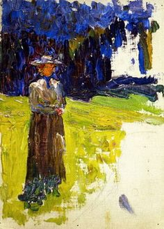 Kochel - Lady Standing by the Forest's Edge, 1902 (Wassily Kandinsky) Art Kandinsky, Wassily Kandinsky Paintings, Franz Marc, Abstract Expressionism, Abstract Art, Abstract Landscape, Antoine Bourdelle, Chaim Soutine, Sketches