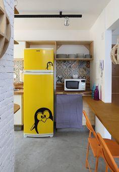 narrow kitchen + yellow fridge #decor #cozinhas #kitchens