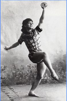 Waclaw Nijinsky (at 17) in the Grand Pas des Crotales of Petipa's 'La Fille du Pharaon' (c 1898).